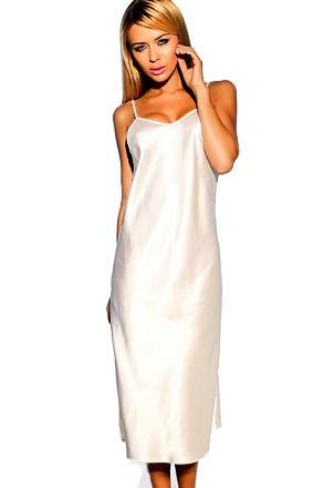 Dlouhá saténová košilka Argentina bílá - Dámské spodní prádlo ... cbf2005d01